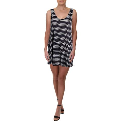 J Valdi Womens Mini Striped Dress Swim Cover-Up