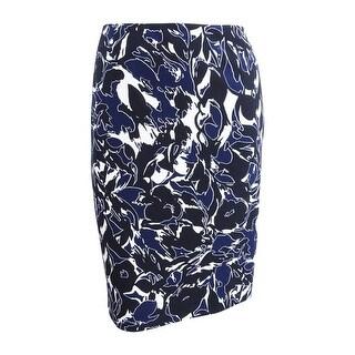 Kasper Women's Plus Size Printed Pencil Skirt - indigo multi