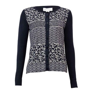 Charter Club Women's Rhinestone Printed Sweater Cardigan - deepest navy combo