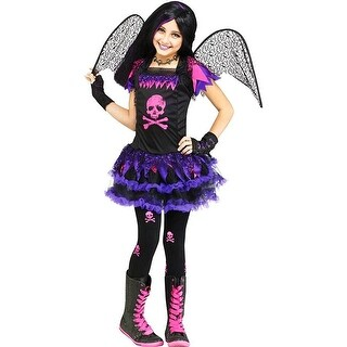 Pink Skull Fairy Child Costume - Black