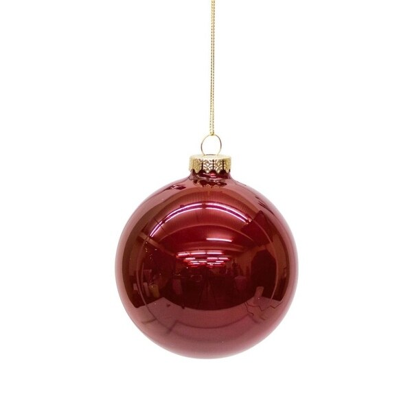 Club Pack of 12 Shiny Ruby Red Glass Christmas Ball Ornaments 4""