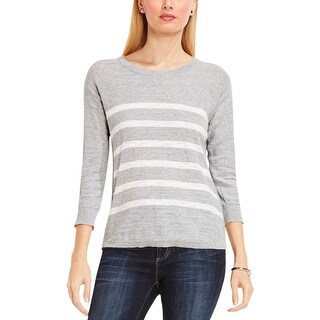 Two by Vince Camuto Womens Crewneck Sweater Ribbed Trim Striped