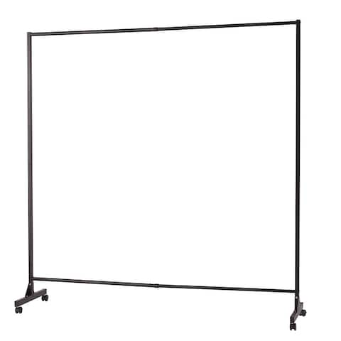 """Don't Look At Me Black Steel Expandable Privacy Room Divider Frame - 18.11""""W x 73.82""""H x 40.94""""L - 72.04''L"""