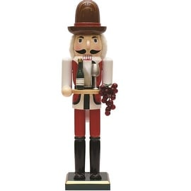 """15"""" Decorative Wooden Winemaker Christmas Nutcracker with Grapes"""