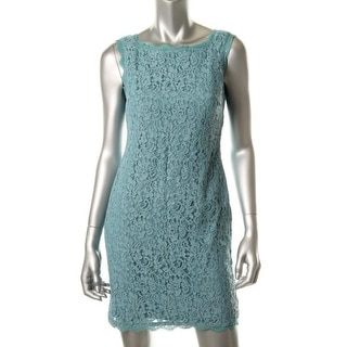 Adrianna Papell Womens Petites Lace Sleeveless Cocktail Dress