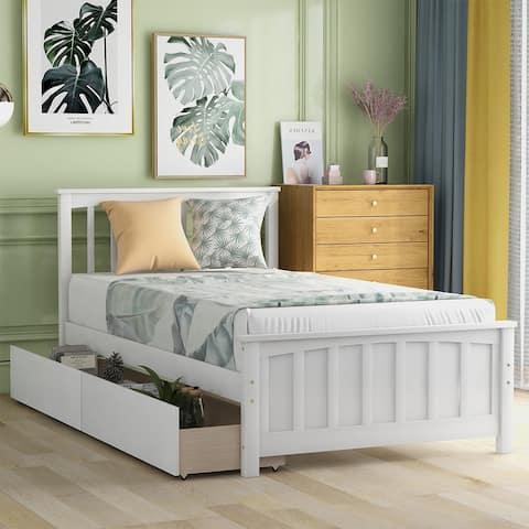 Merax Twin-size Platform Bed with 2 Storage Drawers
