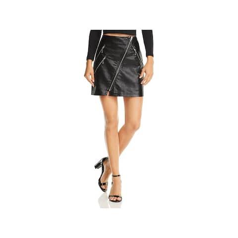 Blank NYC Womens Mini Skirt Faux Leather Zipper