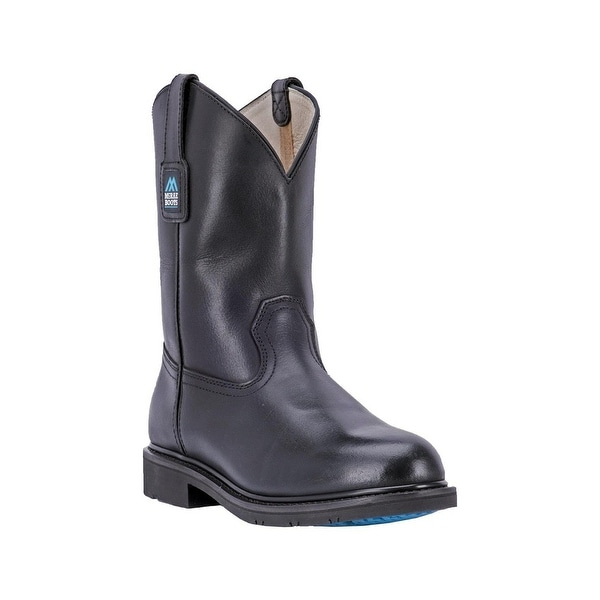 """McRae Industrial Western Boots Mens Round Rubber 11"""" Black"""