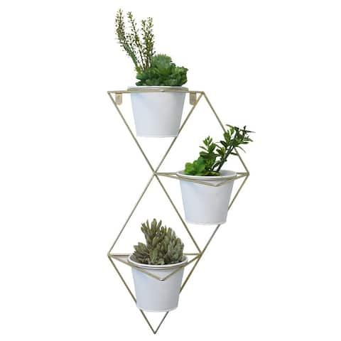 "Hanging Planter Vase, White/Brass - 8'6"" x 13'"