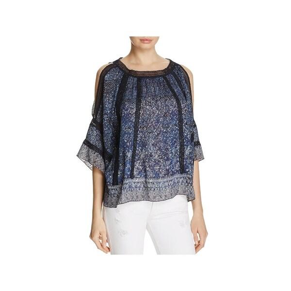 3b2b3e106f49 Shop Elie Tahari Womens Mika Blouse Metallic Crochet Trim - On Sale ...