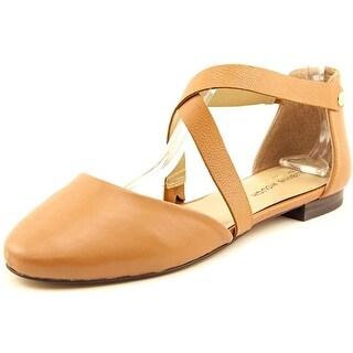 Julianne Hough Ananda Women Round Toe Leather Tan Flats