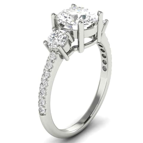 1.50 CT Three-Stone Round Cut Diamond Ring 1.00 CT Center in 14KT