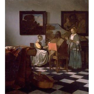 Easy Art Prints Johannes Vermeer's 'The concert' Premium Canvas Art