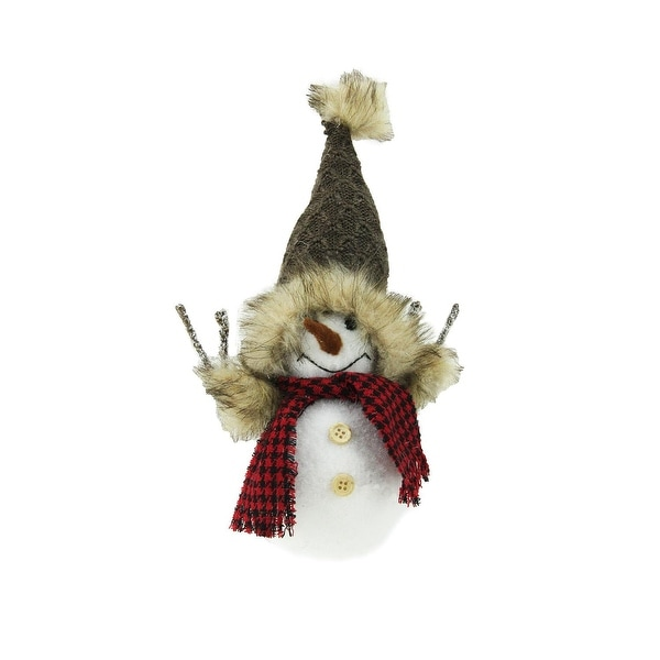"""9"""" Decorative Portly Snowman in Brown Faux Fur Trimmed Hat Christmas Tabletop Decoration - WHITE"""
