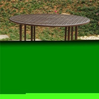 39 in. Mandalay Iron Outdoor Dining Table, Rustic Brown