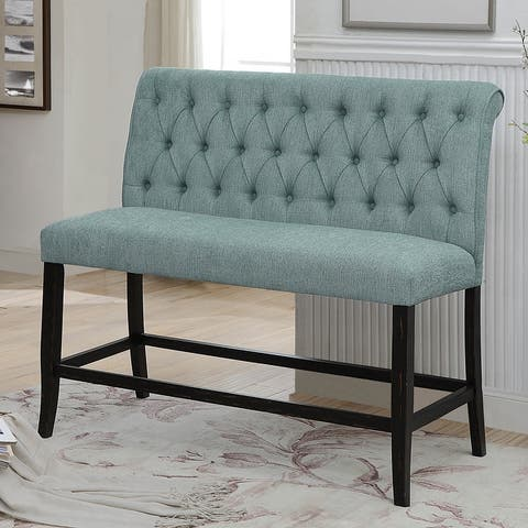 Furniture of America Sheila Contemporary Button-tufted Chenille Counter Height 2-seater Bench