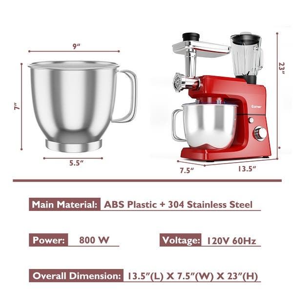 Shop Costway 3 In 1 Multi Functional 800w Stand Mixer Meat Grinder Blender Overstock 24307600