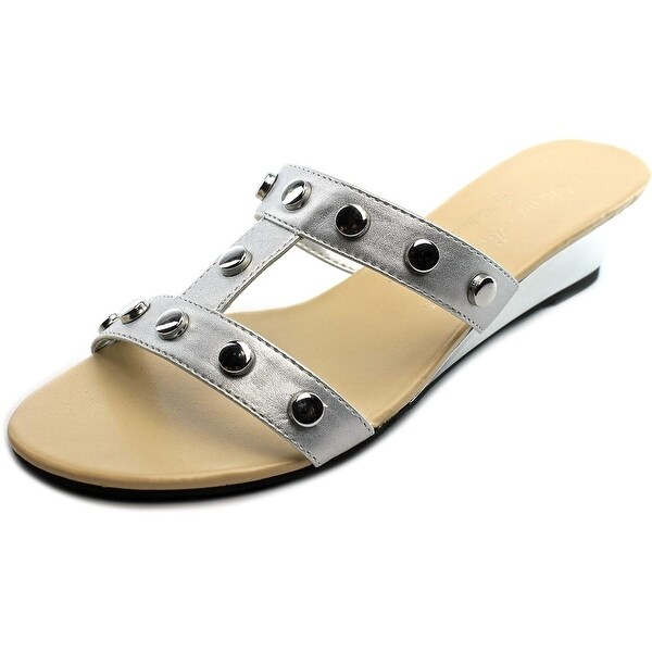 Athena Alexander Thelma Women Open Toe Synthetic Silver Slides Sandal
