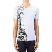 Versace Collection Men's Cotton Logo Graphic Crewneck T-Shirt Light Blue