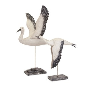 IMAX Home 50917-2  Outer Banks Two Piece Wood Birds Statue Set by Trisha Yearwood - White
