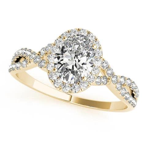 Auriya 14k Gold Oval Moissanite Halo Diamond Engagement Ring
