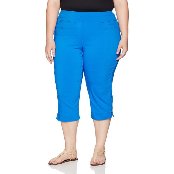e7da27d6c11c7 Alfred Dunner NEW Blue Womens Size 24W Plus Pull-On Capri Stretch Pants