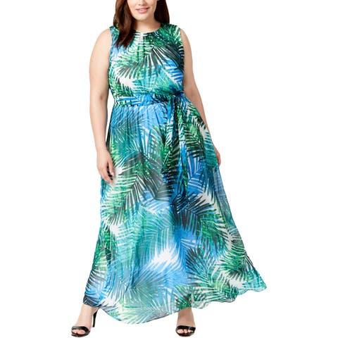 Calvin Klein Womens Plus Maxi Dress Sleeveless Full-Length