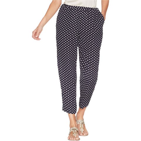 Vince Camuto Womens Diamond Geo Casual Cropped Pants, Blue, X-Large