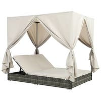 vidaXL 44789  Sunlounger with Curtains Poly Rattan Grey