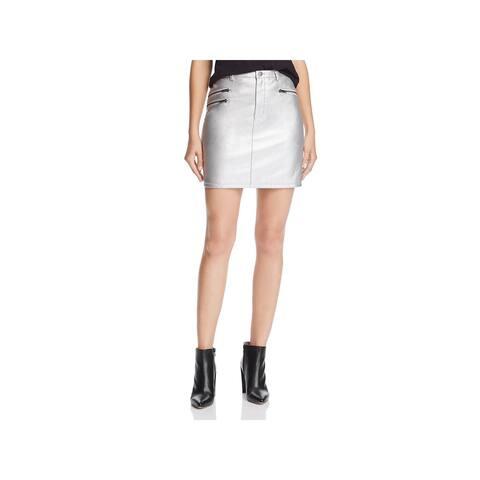 Rebecca Minkoff Womens Myrah Mini Skirt Faux Leather Metallic - 2