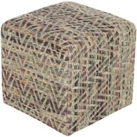 """18"""" Teal, Beige and Mauve Sparking Chevrons Cotton Square Pouf Ottoman - Brown"""