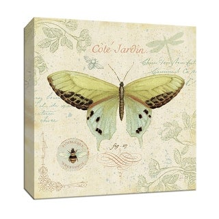 """PTM Images 9-152841  PTM Canvas Collection 12"""" x 12"""" - """"Cote Jardin II"""" Giclee Butterflies Art Print on Canvas"""