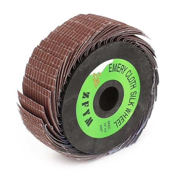"""Unique Bargains 10""""x2"""" Abrasive Emery Cloth Wire Flap Wheel Surface Polishing Grinding 240 Grit"""