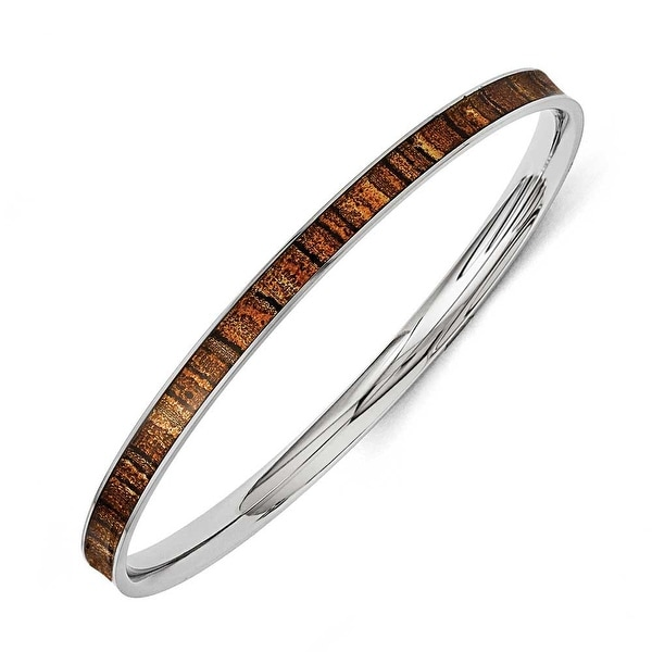 Chisel Stainless Steel Brown and Black Enameled Bangle