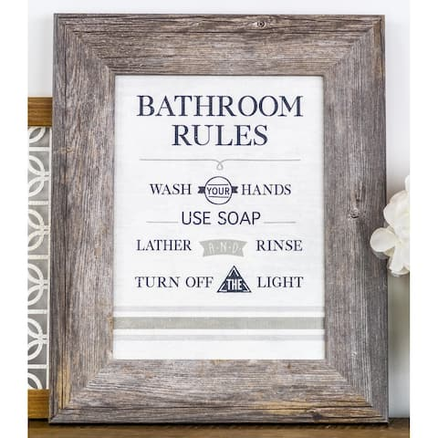 Bathroom Rules Wash Your Hands Use Soap Turn Off Light Bath Grey Black Decor Art