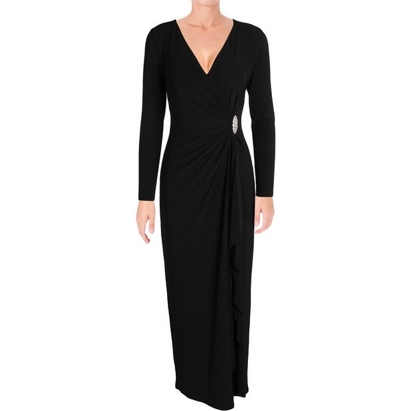Lauren Ralph Lauren Womens Evening Dress Matte Jersey Long Sleeves