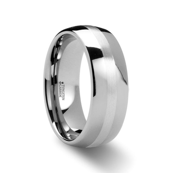 THORSTEN - CASSIUS Silver Inlaid Domed Tungsten Ring - 6mm