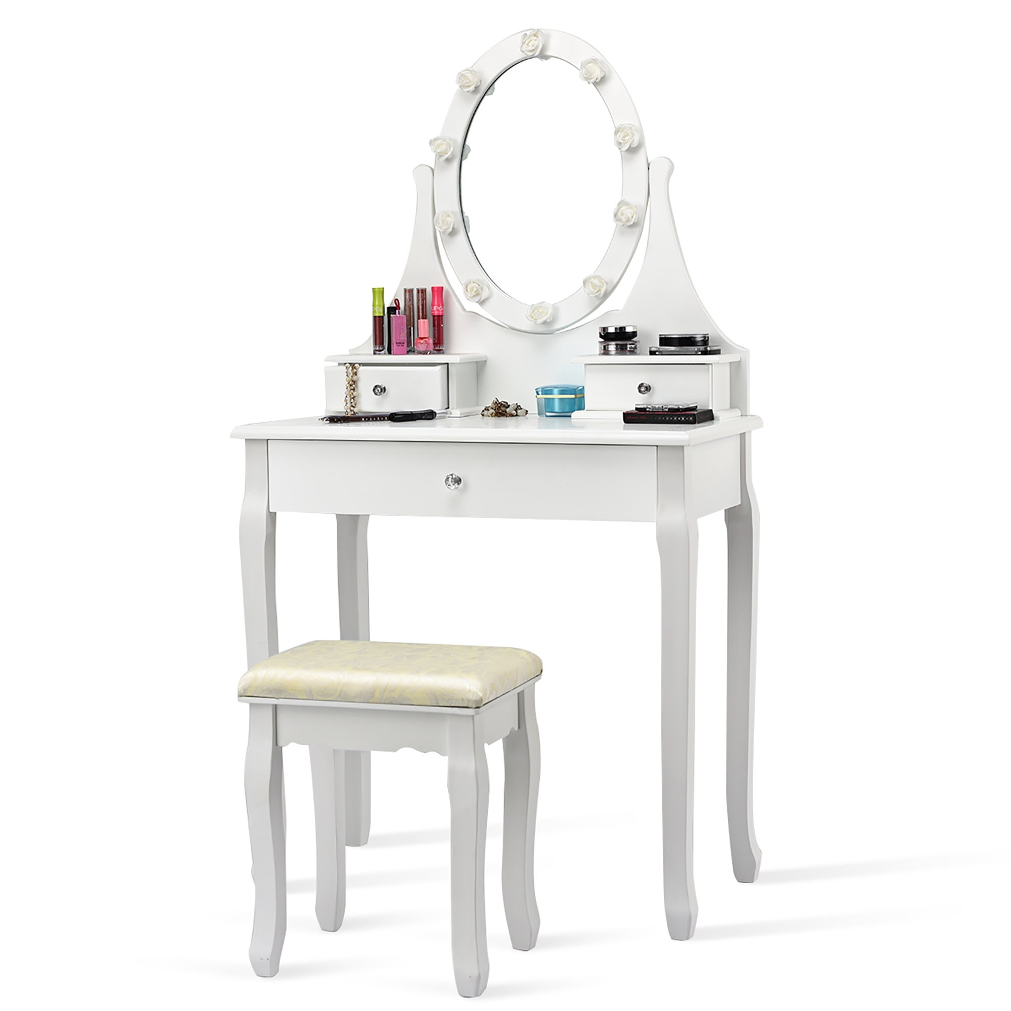 Vanity Makeup Dressing Table Set Lighted Mirror W Drawers Led Bulbs On Sale Overstock 30125937