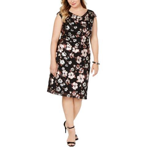 Connected Apparel Womens Plus Sheath Dress Floral Print Cowl Neck - Black