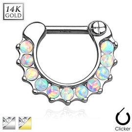 Opal Stone Paved Round Single Line 14K Gold Septum Clicker (Sold Individually)