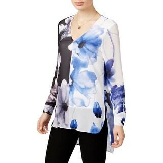 Joan Vass Womens Pullover Top Hi-Low Floral Print - m