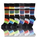 Stripes Print Mens Cotton Dress Socks Multicolored (Size 10-13) - Thumbnail 0