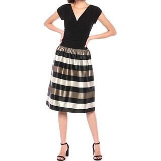 SLNY Women's Black Gold Size 14 V-Back Stripe Surplice A-Line Dress