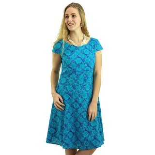 Turquoise Blue Tile Print Casual Dress