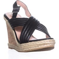 callisto Puff Crisscross Platform Wedge Sandals, Black
