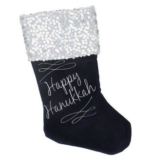 "19"" Navy and Silver ""Happy Hanukkah"" Sequin Cuff Embroidered Velvet Stocking - Blue"
