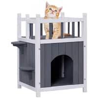 Gymax Wooden Cat Pet Home with Balcony Pet House Small Dog Indoor Outdoor Shelter