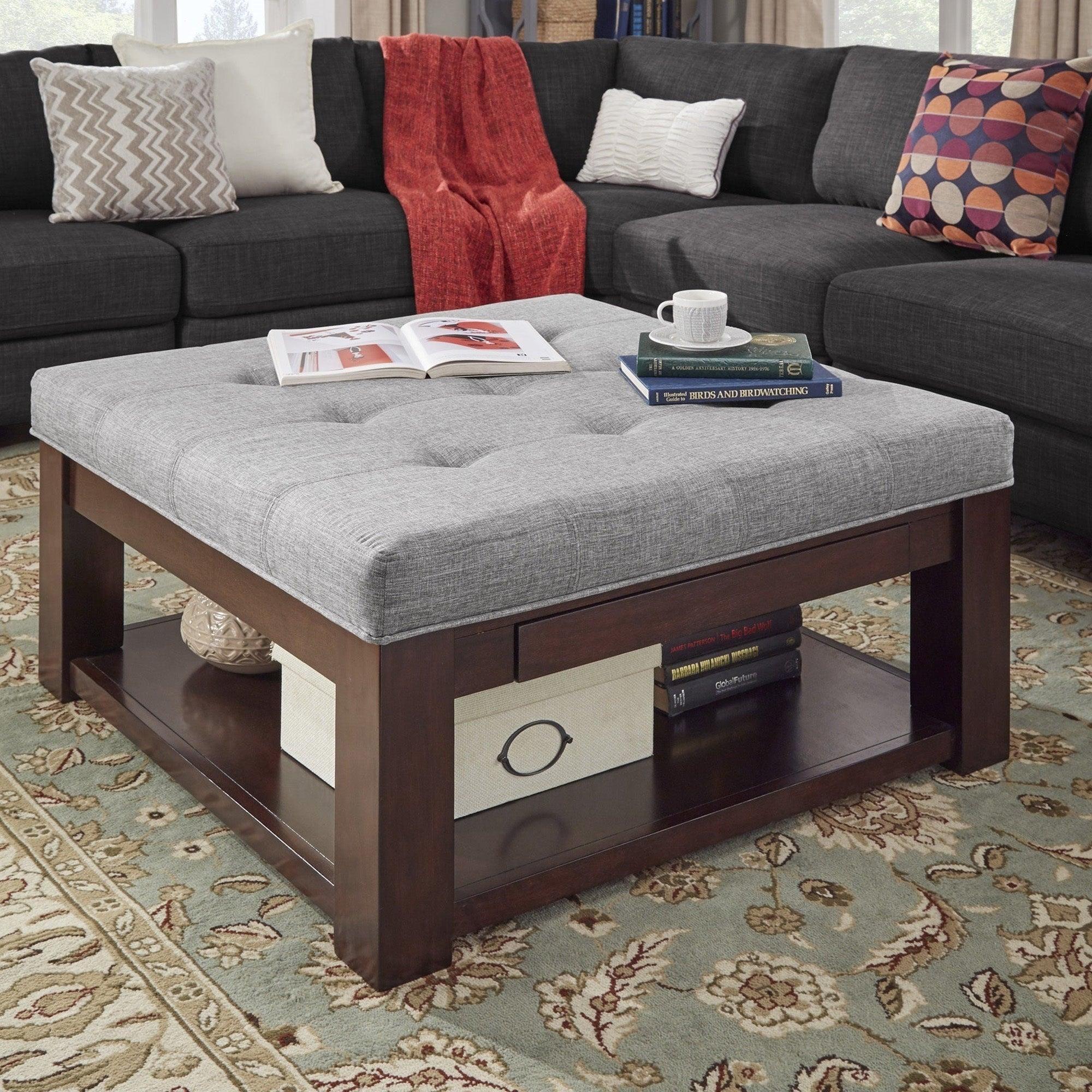 - Shop Lennon Espresso Square Storage Ottoman Coffee Table By