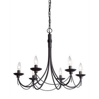 Artcraft Lighting AC1486EB Single-Tier Candle Style Chandelier with 6 Lights - 25 Inches Wide