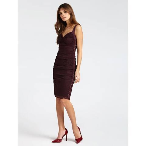 MARCIANO Purple Sleeveless Midi Dress L